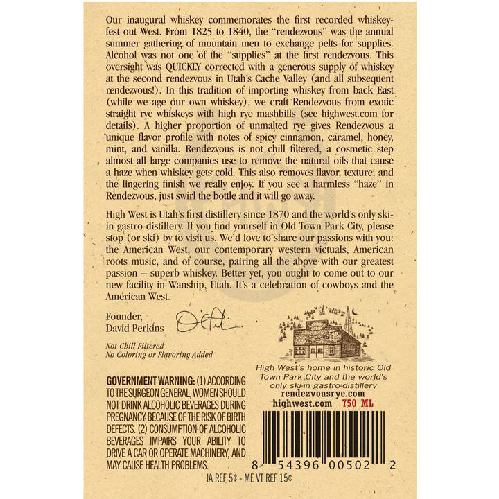 rendezvous rye back label