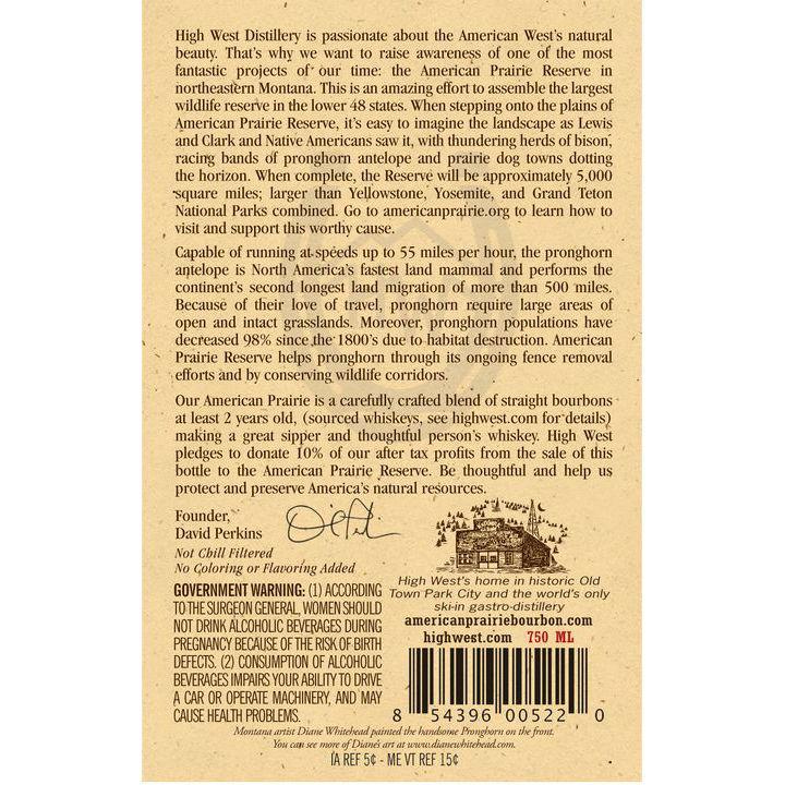 american prairie bourbon back label